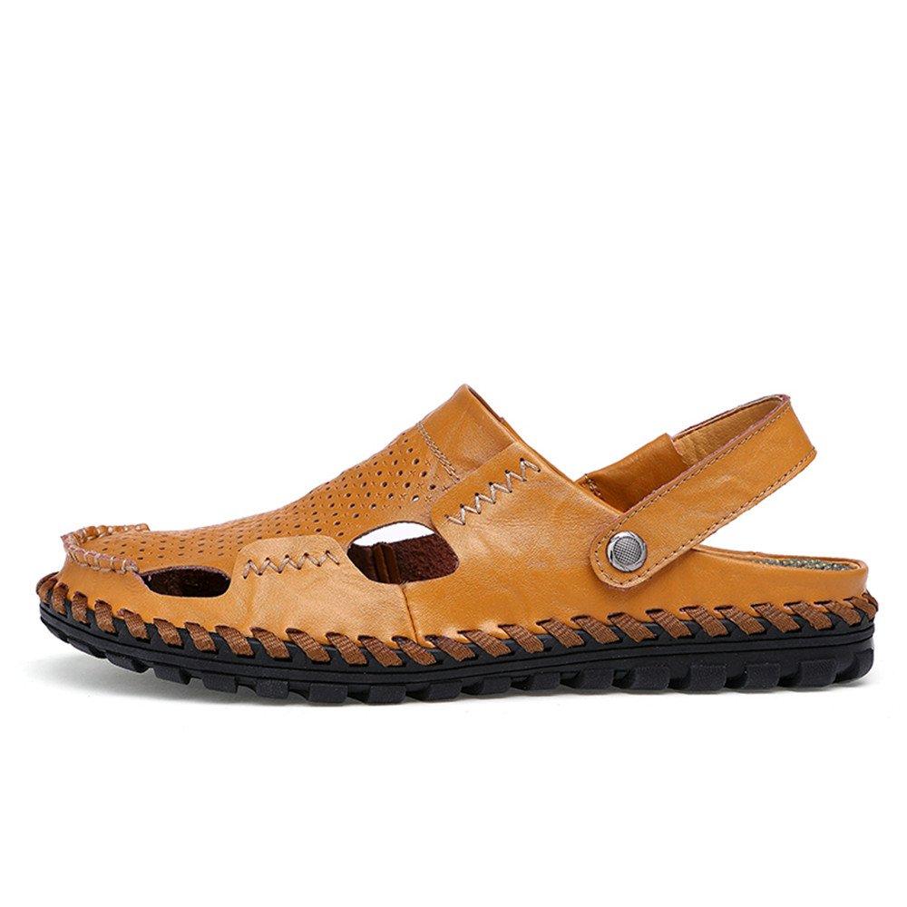 Xujw--schuhe Strand Heren Sandalen, Herren Echtleder Strand Xujw--schuhe Hausschuhe Breathable Summer Sandalen (Farbe : Orange, Größe : 40 EU) Orange 364303
