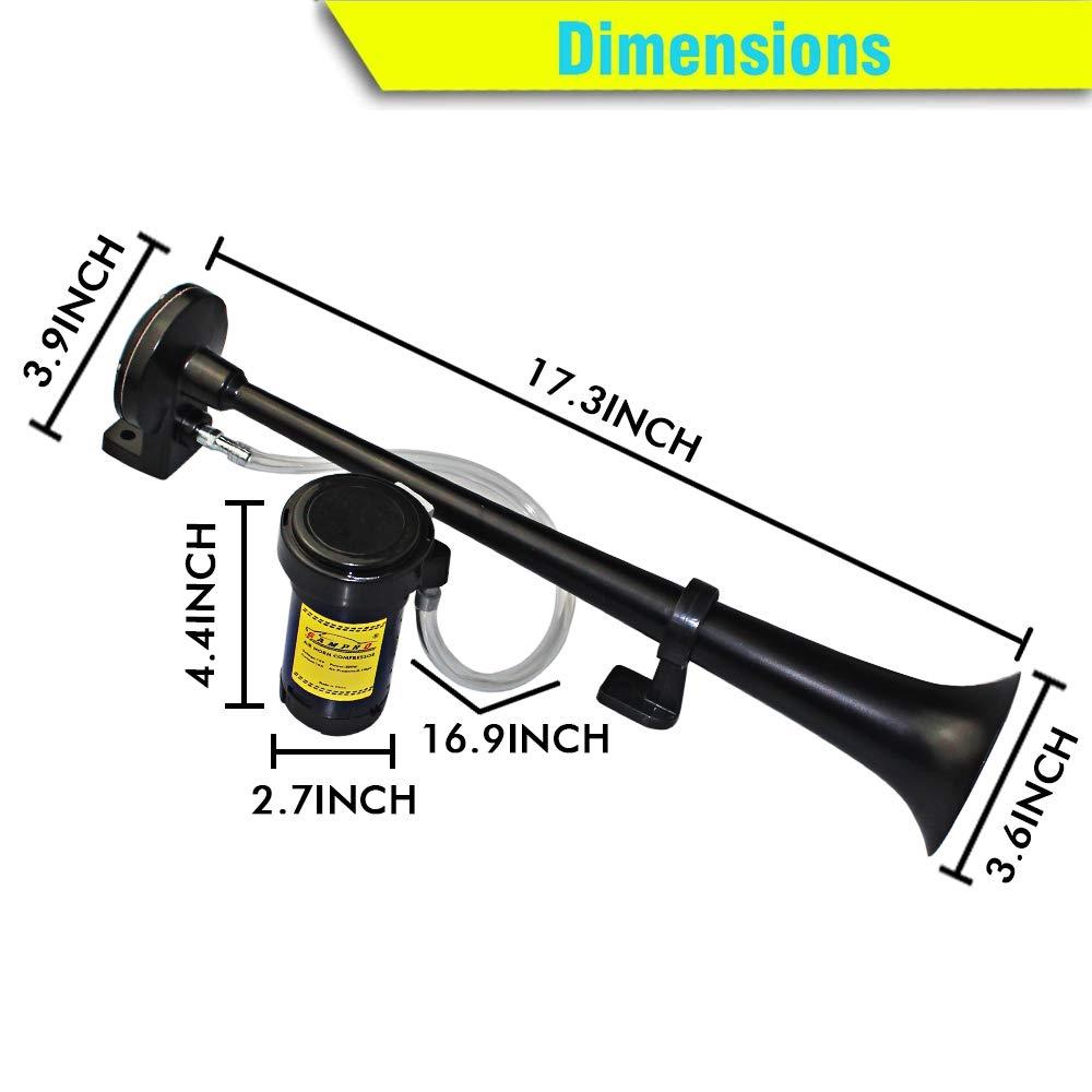 de 12 V y de 150 db de 45 cm GAMPRO Claxon de corneta con un dise/ño de zinc cromado y con compresor para cualquier veh/ículo