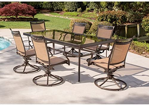 Hanover FNTDN7PCSWG-P Fontana 7 Piece Six Sling Swivel Rockers and an Extra Large Glass-top Table Outdoor Patio Dining Set