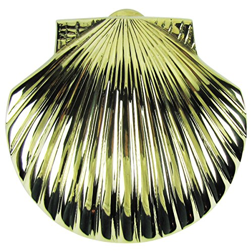 Solid Brass Scallop Shell Sea Life Door Knocker Beach Decor Seashell Doorknocker ()