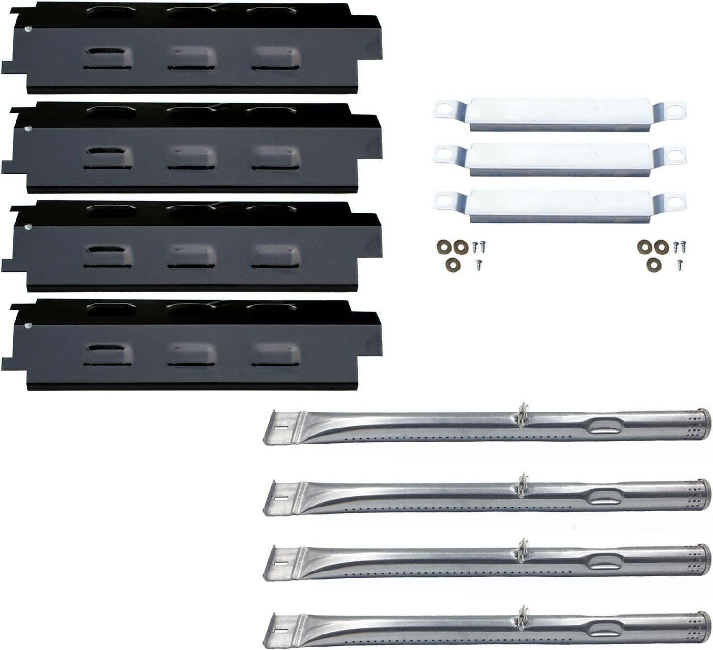 Direct Store Parts Kit DG259 Replacement Charbroil Grill 463436213,463436215; Thermos 466360113 Repair Kit (SS Burner + SS Carry-Over Tubes + Porcelain Steel Heat Plate)