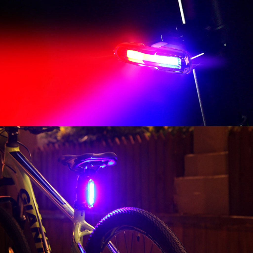EFORCAR Bike Tail Light,USB Rechargeable LED Bicycle Rear Light with 3 Colors Light and 6 Lighting Modes Multipurpose Ultra Bright Waterproof Bike Warning Light for Riding by EFORCAR (Image #5)