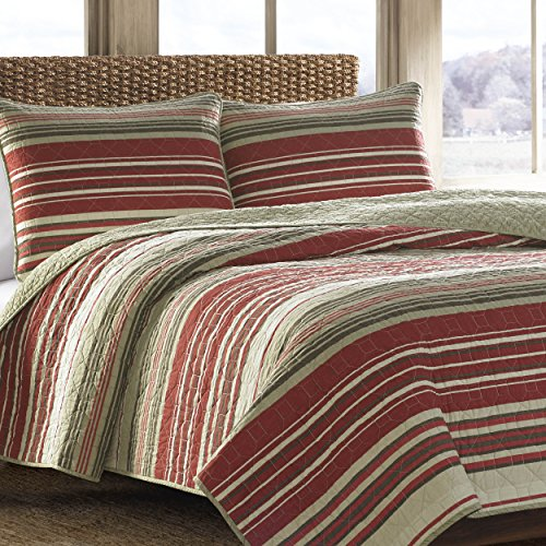 Eddie Bauer Yakima Valley Cotton Quilt Set, King, Red (Bed Red Striped Ensemble)