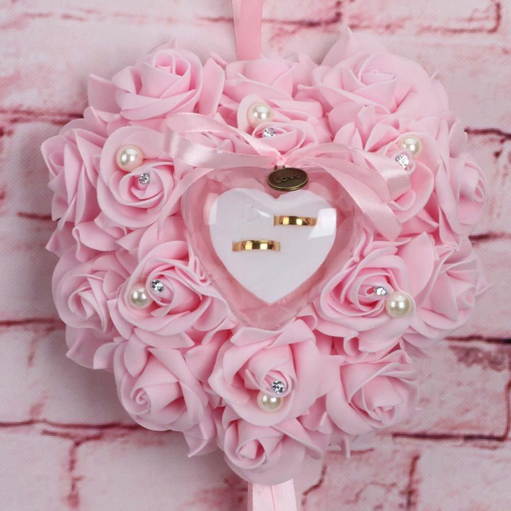 L-discountstore romantique Rose Mariage Bague Coussin Oreiller de bague en forme de c/œur Bo/îte /à bijoux 25 x 25 x 14cm Color1