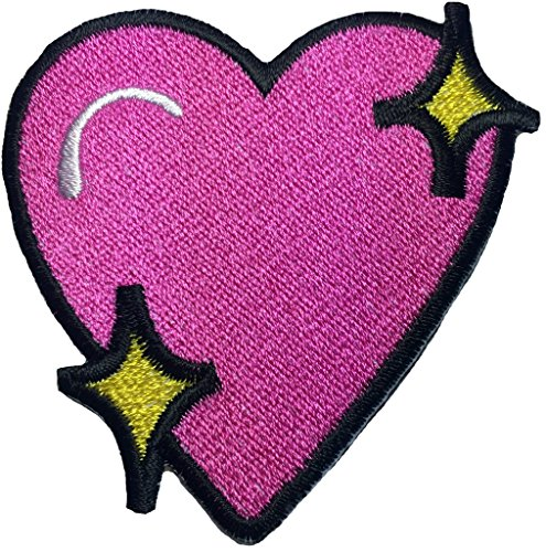 LOVELY PINK HEART size 3 x 2.75 inch Logo Jacket Vest shirt hat blanket backpack T shirt Patches Embroidered Appliques Symbol Badge Cloth Sign Costume Gift