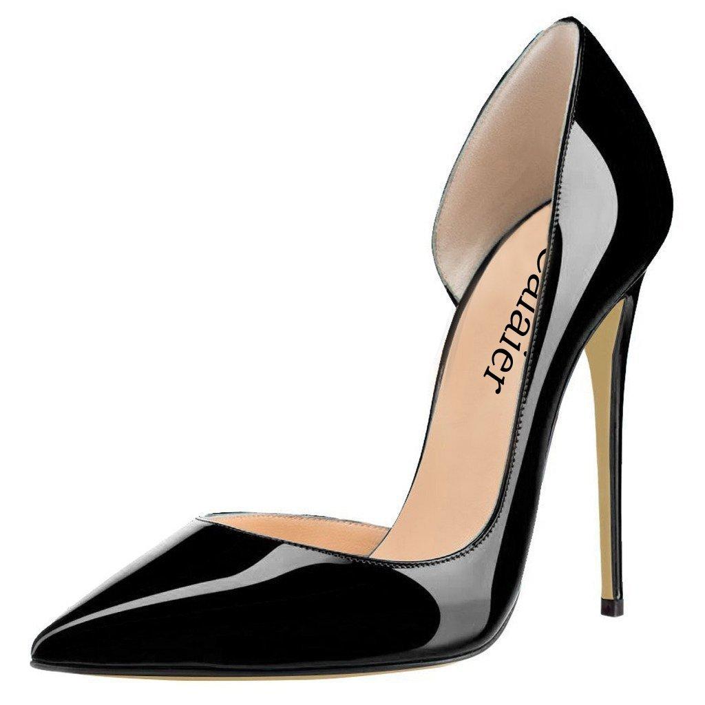 Calaier Mujer Cabecause Tacón De Aguja 12CM Sintético Ponerse Zapatos de tacón 41.5 EU|Negro