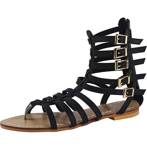 74678b5dd9b sekesin Women Ankle Strap Back Zip Gladiator Roman Shoes Strappy Summer  Flat Outdoor Sandals(Black