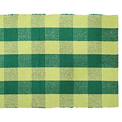 Handmade Green Cotton Rug Rag Floor Mat Indian Woven Carpet Dari