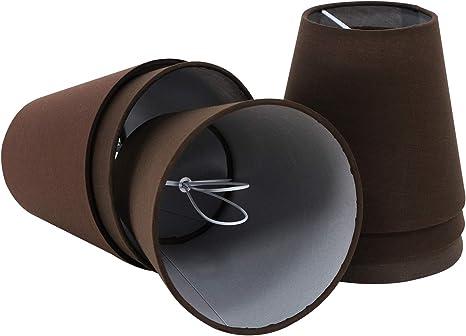 Eastlion 6 Pacchi 5.5 inch Paralume Tessuto Piccolo Clip Paralumi Lampadari Lampadario e Lampada a Muro,Marrone