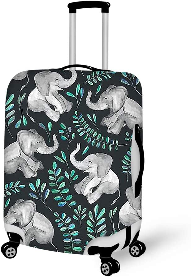 Laughing Baby Elephants Printed Washable Travel Luggage Cover Elastic Suitcase Trolley Protector Cover for 22-24 inch Luggage