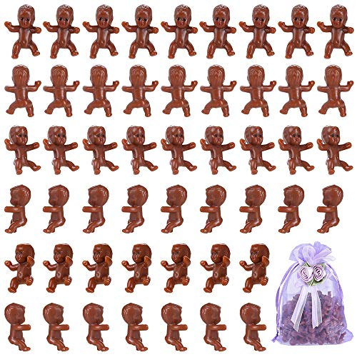 Pllieay 120 Pieces Mini Plastic African American Babies Party Favor Supplies Kit with Organza Bag for Baby Shower Ice Cube Game Party Gift Cake Decorations, 1 Inch]()