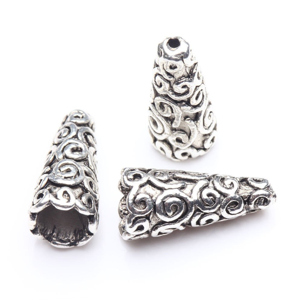 50 pcs Tibetan Antique Silver Cone Bead Caps End Beads Jewelry Findings U Pick