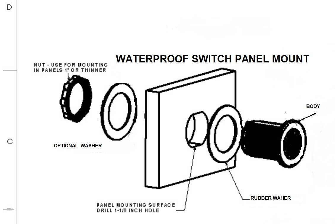 Double Sealed Blue Led Marine Quality Waterproof Rocker Of 5 12 Volt Round 3 Prong Switch Spst Toggle 12v Swb1b Home Improvement