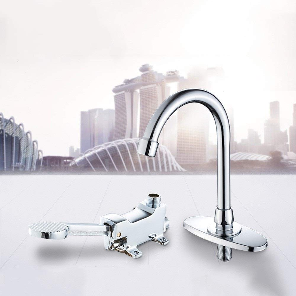 iBalody Fine Copper Bathroom Medical Laboratory Basin Foot Pedal Faucet Foot Pedal Brass Basin Mixer Water Taps Single Cold Hot and Cold Water Mixter Tap Color : Cold Water