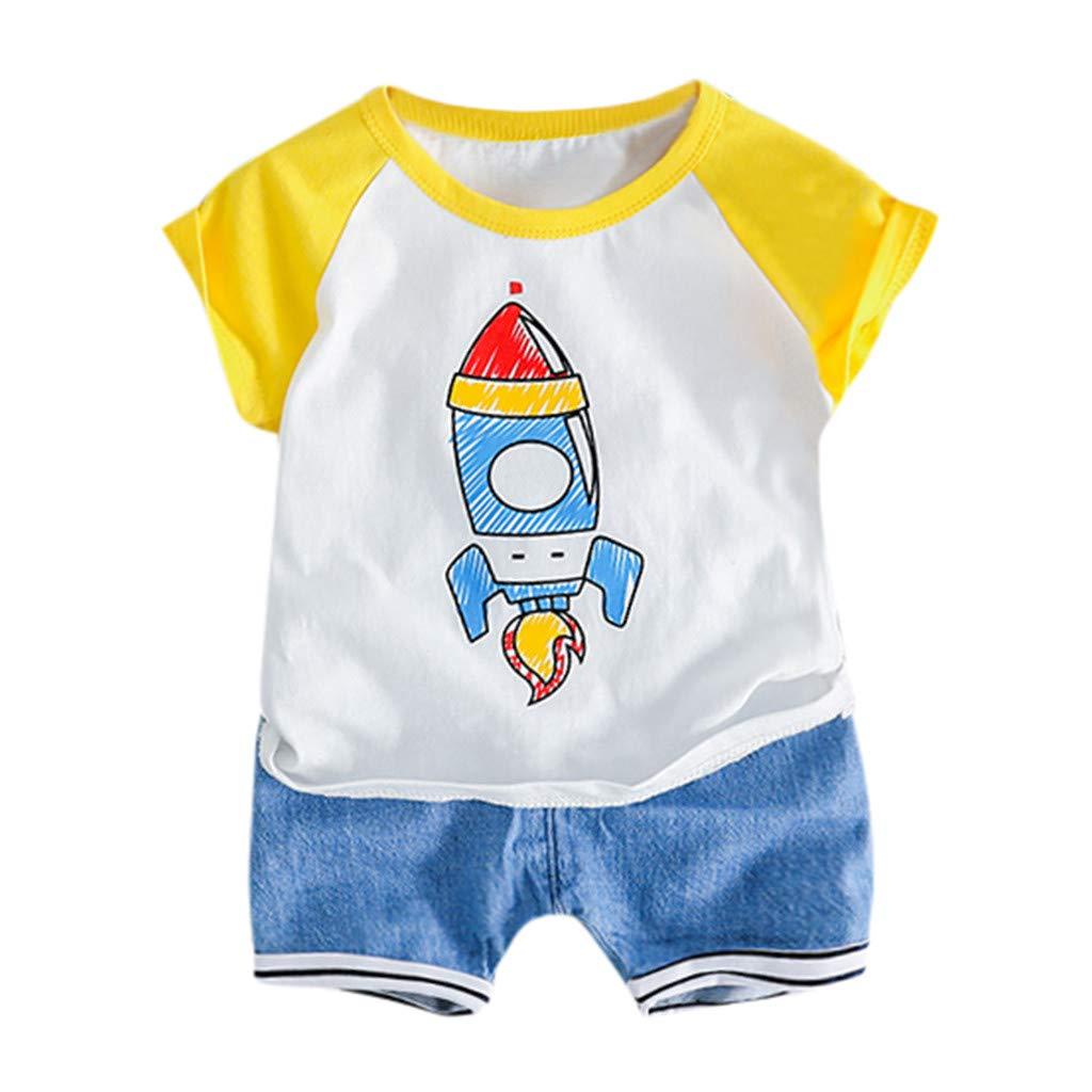 Fabal Toddler Baby Kids Boys Rocket Tops T-Shirt Stripe Short Pants Casual Outfits Yellow