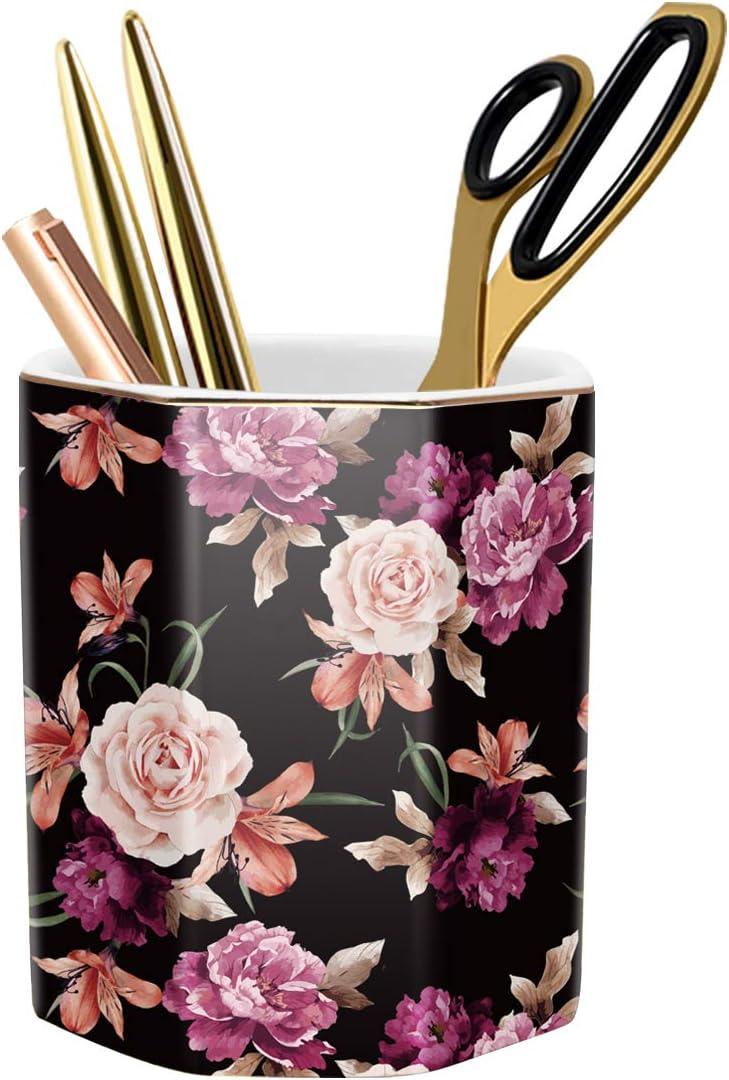 WAVEYU Pen Holder, Pencil Holder for Desk Floral Pattern Pencil Cup for Girls Kids Durable Ceramic Desk Organizer Makeup Brush Holder Ideal Gift for Office, Classroom, Home, Black Flower