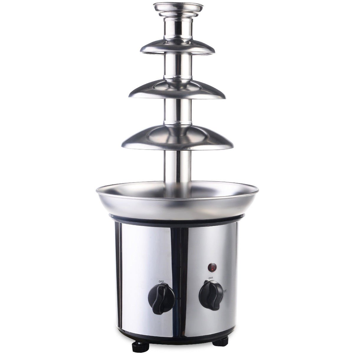 GHP 9''Dx18''H 180W 2lbs Capacity Stainless Steel 4-Tiers Chocolate Fondue Fountain