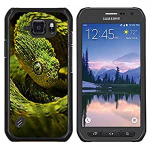 EJOOY---Cubierta de la caja de protección para la piel dura ** Samsung Galaxy S6Active Active G890A ** --Enfriar verde de neón de la serpiente