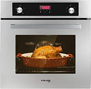 "Single Wall Oven, GASLAND Chef GS606DSLP 24"" Built-in Propane Oven, 6 Cooking Functions Convection Gas Wall Oven with Rotisserie, Digital Display with Mechanical Knob Control, Stainless Steel Finish"