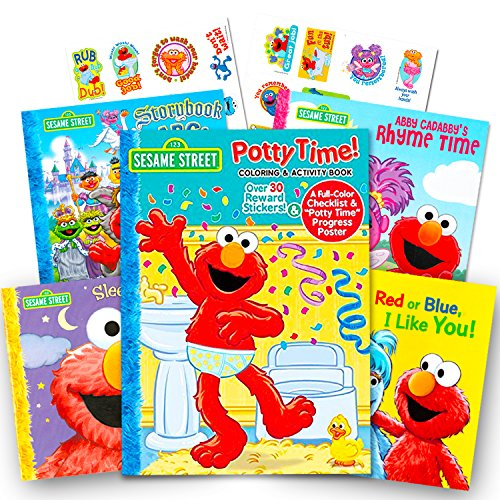 Potty Time Elmo - Sesame Street Elmo Potty Training Book Set --  Potty Coloring and Activity Book with Chart, Reward Stickers and Checklist (Includes 4 Storybooks:  ABC, Colors, Rhymes, Bedtime)