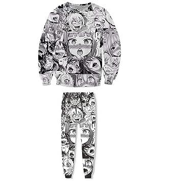 ZWZH Sudaderas Unisex Estampado 3D Sudaderas Divertidas Anime Ahegao Sudaderas con Capucha Hipster Sexy Camiseta de Dibujos Animados Conjunto de Sudaderas: ...
