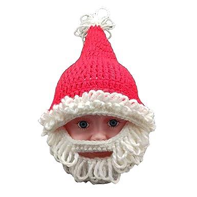 cd9e921def3 Fenical Bonnet tricoté Bonnet de Noel avec Barbe Costume de Cosplay Père  Noël pour Enfants  Amazon.fr  Vêtements et accessoires
