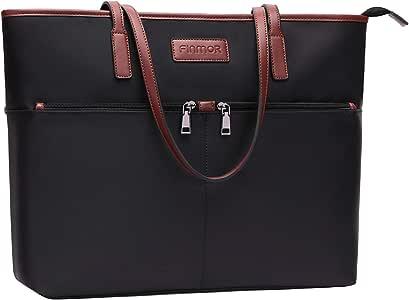 FINMOR Laptop-Bag-for-Women-15.6 Inch Multi Pockets Lightweight Nylon Teacher-Bag Office Work-Tote-Bags,Large Padded School Laptop Purse Computer-Bags-for-Women,Black