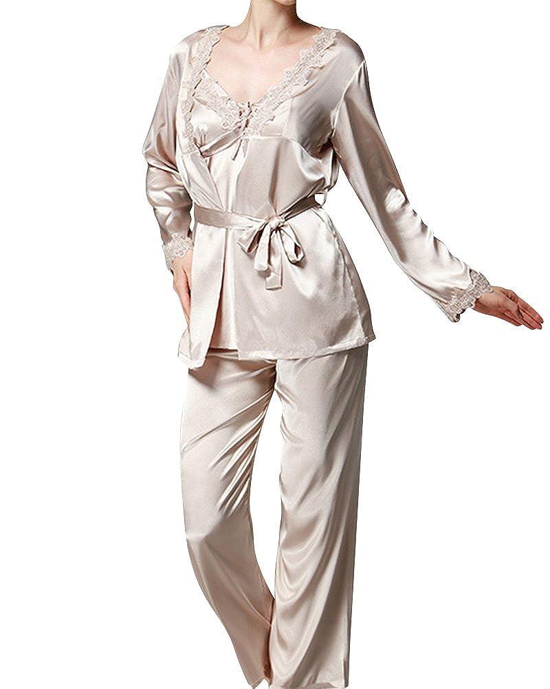 Women Classic Long Sleeve Printed Satin Silk Pyjamas 3 Piece Set Nightwear  Sleepwear  Amazon.co.uk  Clothing 4e4ec533d