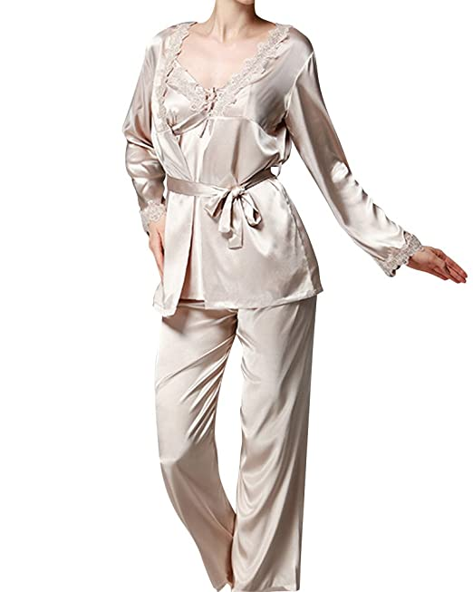 Mujer Pijamas 3-In-1 Camisones Satén Manga Larga Pantalones Satin Pijamas Camello M
