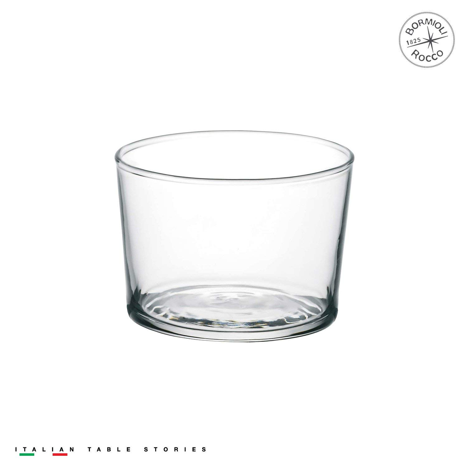 Simple clear glass tumblers made in Italy