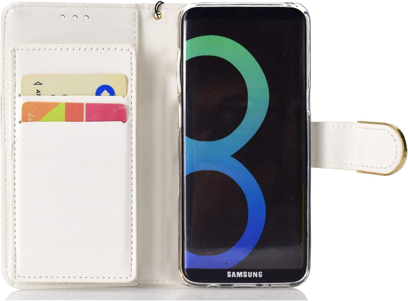 Glitzer Diamant Schnalle Ledertasche WIWJ Kompatibel mit Samsung Galaxy S8 Plus H/ülle,Premium Tasche Cover Flip Case Lederh/ülle Schutzh/ülle Handyh/üllen f/ür Samsung Galaxy S8 Plus-Wei/ß
