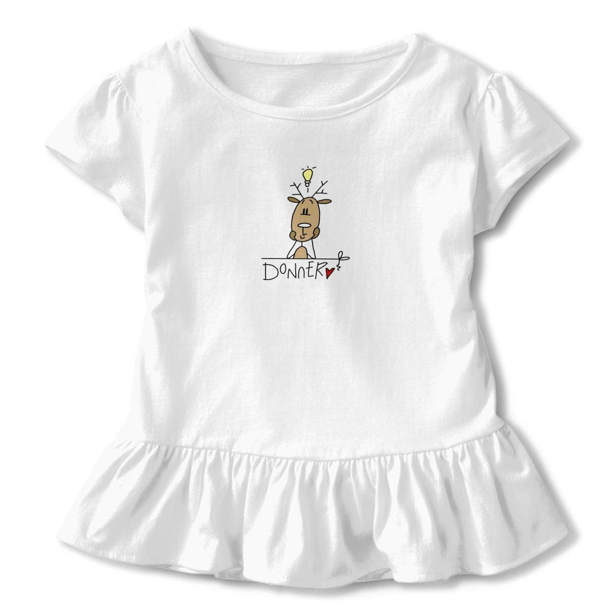 QUZtww Donner Reindeer Christmas Toddler Baby Girl Basic Printed Ruffle Short Sleeve Cotton T Shirts Tops Tee Clothes