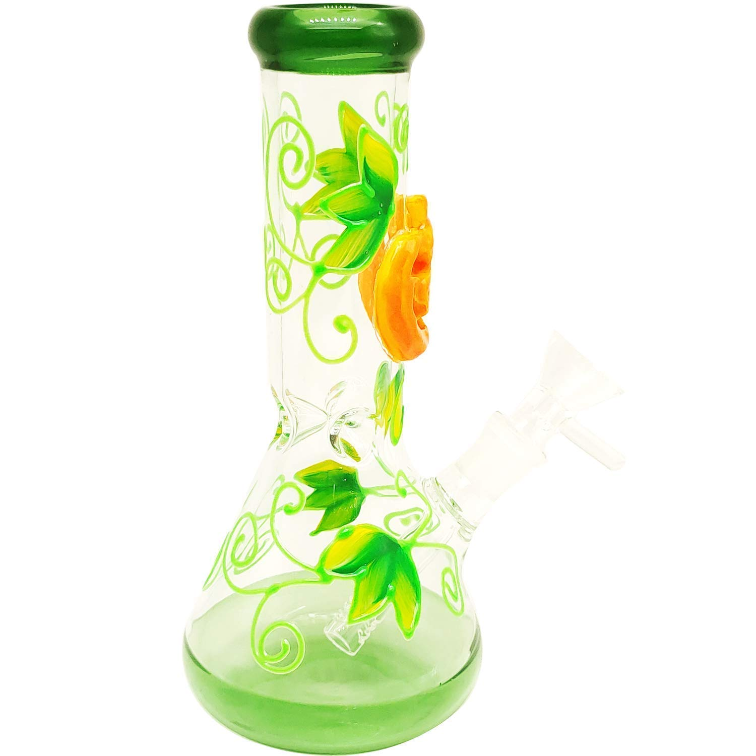 GoMicocop Halloween 3D Pipe Pumpkin 8 Inch Glass Vase Decoration Sculpture Hand Crafted and Designed Elegant and Durable Glow In the Dark