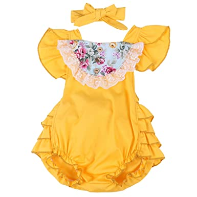 3dbbb25642db MA BABY Baby Girl Floral Ruffle Clothes Sunsuit Romper Tutu Bow Backless  Dress (6-12