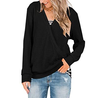 Abninigee Womens V Neck Knitted Blouses Casual Long Sleeve Wrap Tunic Tops Black at Amazon Women's Clothing store