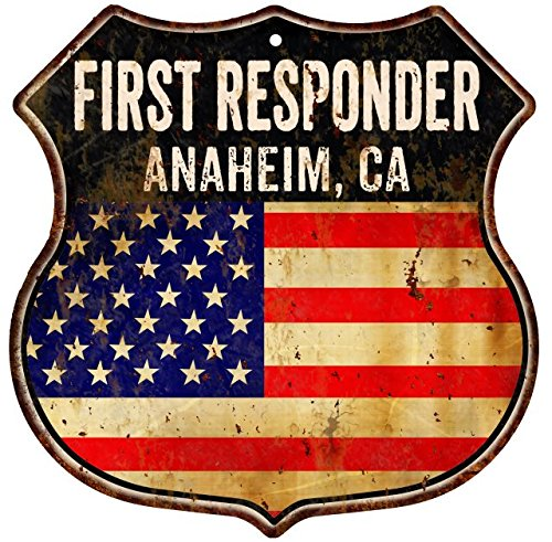 Great American Memories ANAHEIM, CA First Responder American Flag 12x12 Metal Shield Sign S122332