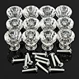 KINGSO 12pcs Acrylic Crystal Door Drawer Knob Handle Clear