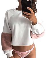 Felpa da donna, Felpe con cappuccio bianco Patchwork Pullover Pullover
