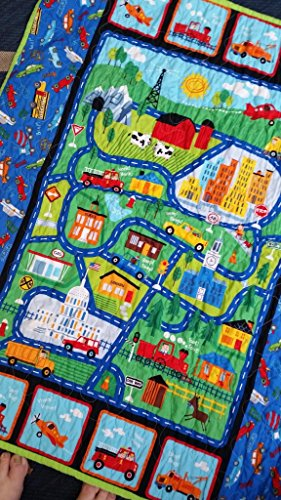 Cars and Trucks Quilt, Trucks and Cars Playmat, Trucks Crib Quilt, Vehicle Nursery, Vehicle Crib, Transportation Crib, Boy Crib Bedding, Airplane, Train, Vehicles, Car Toddler Birthday Present by Quiltsforu2