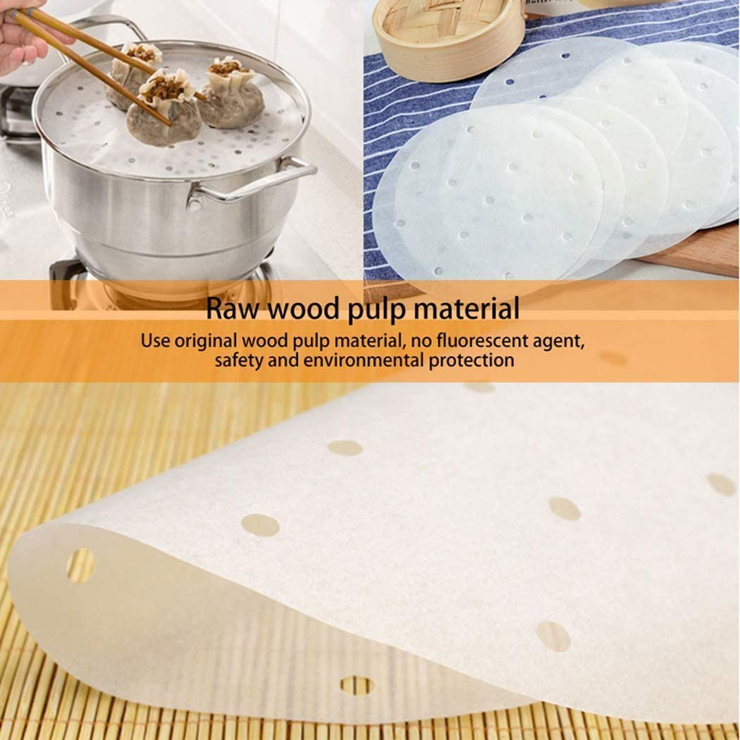 ZYEZI 200Pcs Parchment Paper Rounds 7.5in Non-Stick Air Fryer Liners with Holes for Cake Pan Baking Cake Oven Cooking Steaming Basket
