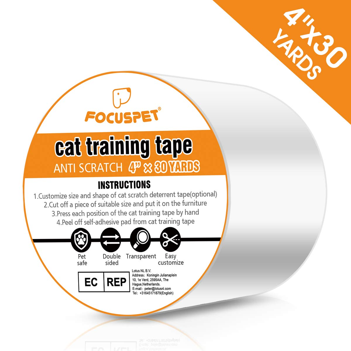 FOCUSPET Cat Scratch Tape Deterrent 4″ x 33 Yards (33% Wider) Furniture Protectors from Cats | Cat Training Tape Scratch Pad Double-Sided Furniture Protectors for Sofa, Couch, Door