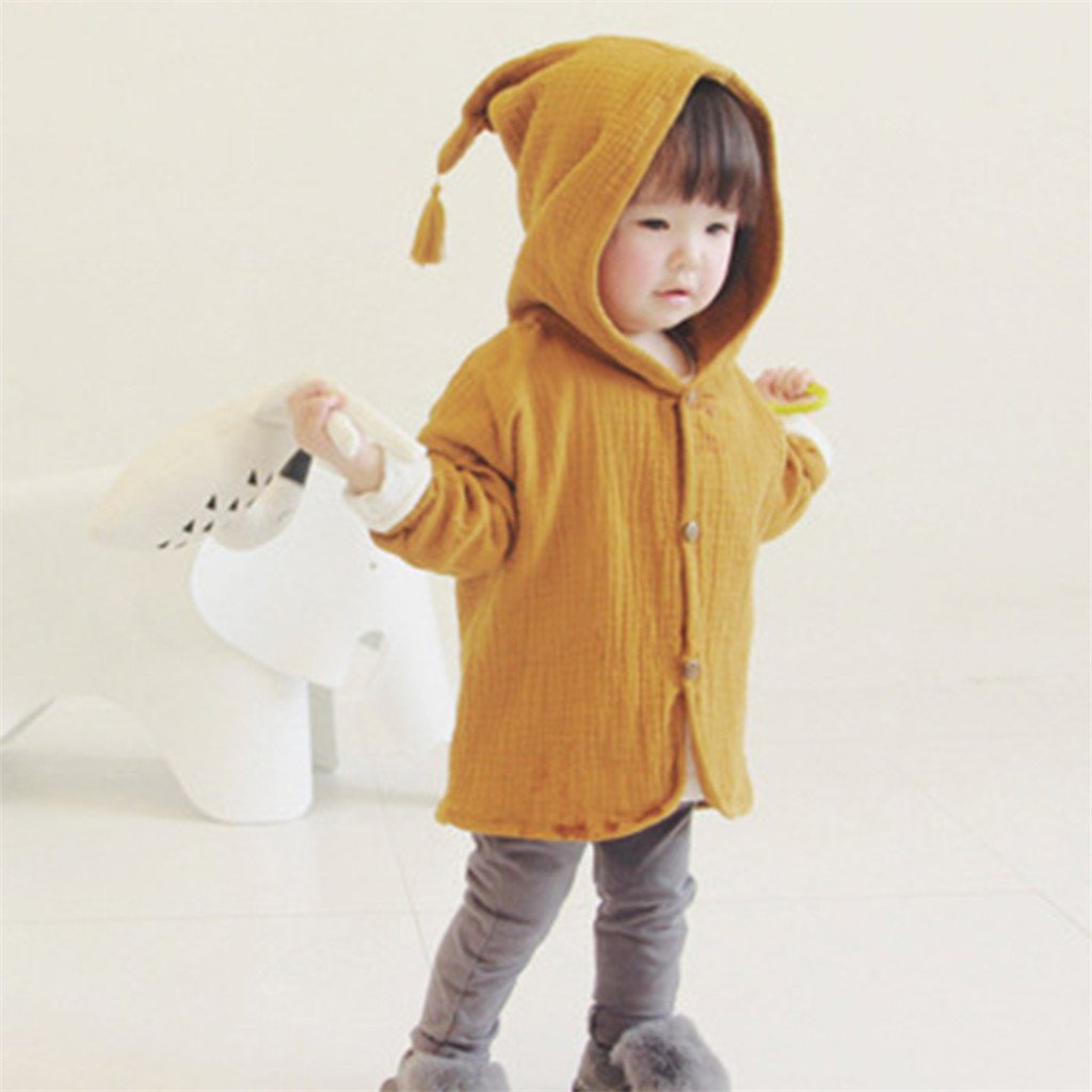 minishop659 Toddler Baby Girl Fashion Solid Color Tassel Hooded Button Jacket Coat