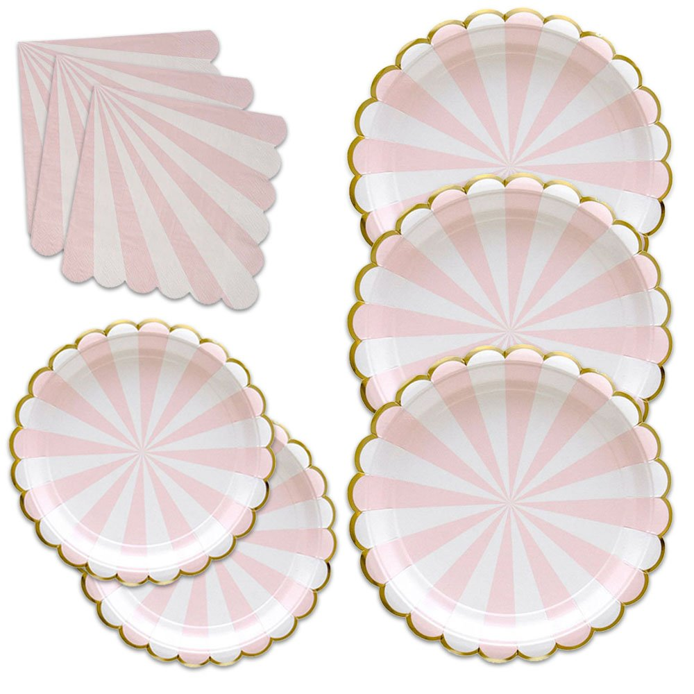36Pack Disposable Dinnerware Sets Pink Party Paper Plates and Napkins,Stripe Dinner Plates Pink and Gold Party Paper Plates for Wedding Birthday Party Tea Party Baby Shower Anniversary Camping