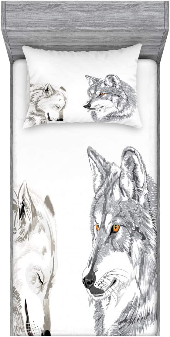 Ambesonne Sketchy Fitted Sheet & Pillow Sham Set, 2 Wolf Portraits Sleeping Hunting Carnivore Animals Nature Wildlife Theme, Decorative Printed 2 Piece Bedding Decor Set, Twin, Orange Beige