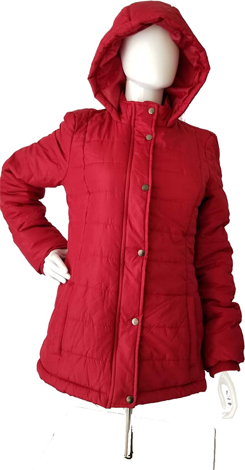 S Woman/'s Red Down Fur Lined Hood Coat Jacket Rampage.