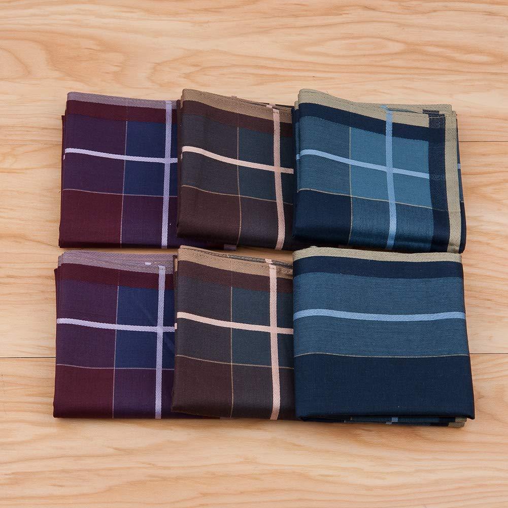 6//12 pezzi HOULIFE fazzoletti da uomo 100/% cotone 60S classico motivo a scacchi colorati plaid fazzoletti per pap/à 43 x 43 cm festa del pap/à nonno