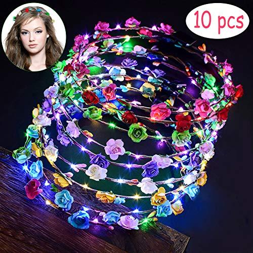 LED Flower Crown, Fascigirl 10pcs Glow Headbands