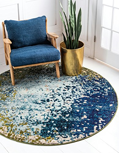 Unique Loom 3121421 Estrella Collection Colorful Abstract Blue Round Rug, (Green 8' Round Rug)