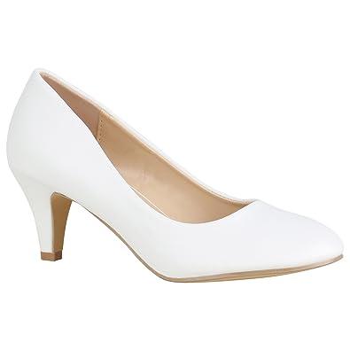 Damen Schuhe Klassische Pumps Glitzer Stiletto Mid Heels Party 156077 Weiss  Avelar 37 Flandell b0bfd744c6
