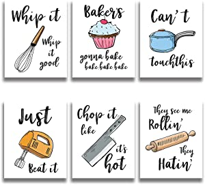 Funny Colorful Kitchen Wall Art Prints Kitchenware with Sayings Unframed Farmhouse Home Office organization Signs Bar Accessories Decorations, 6 Set, white house Deco Kitchen Decor (8